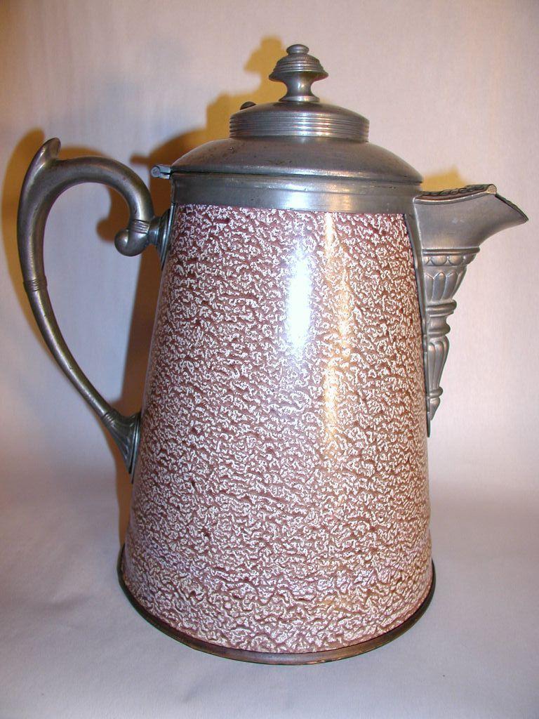 Antique Graniteware Mottled Coffee Pot Found On Rubylane