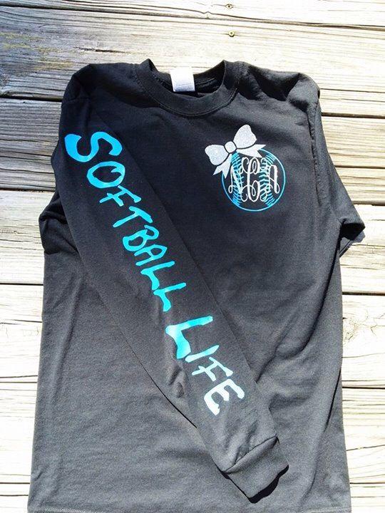 3fb518fd1f0 Softball Life Monogram T-Shirt by VinylByTaylor on Etsy https://www.