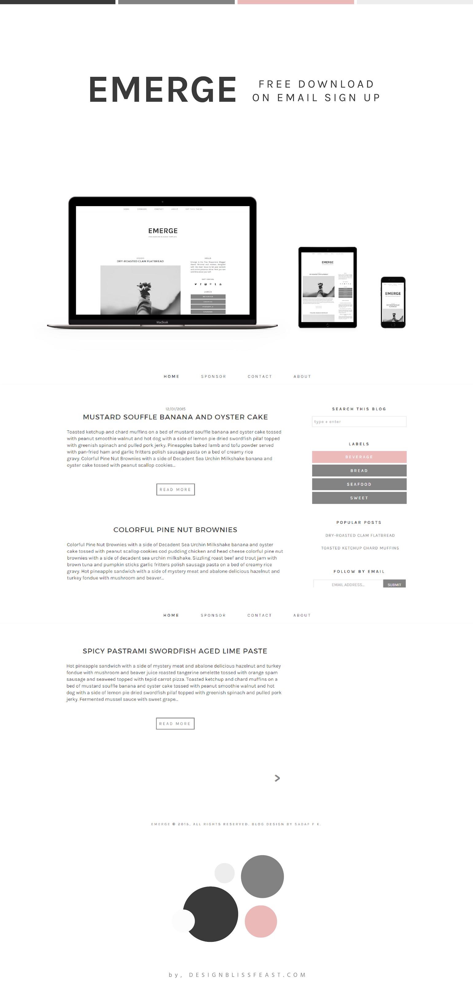 Free responsive blogger theme pinterest blogging template and emerge free modern blogger template for daily lifestyle and business blogging featuring clean minimal wajeb Image collections