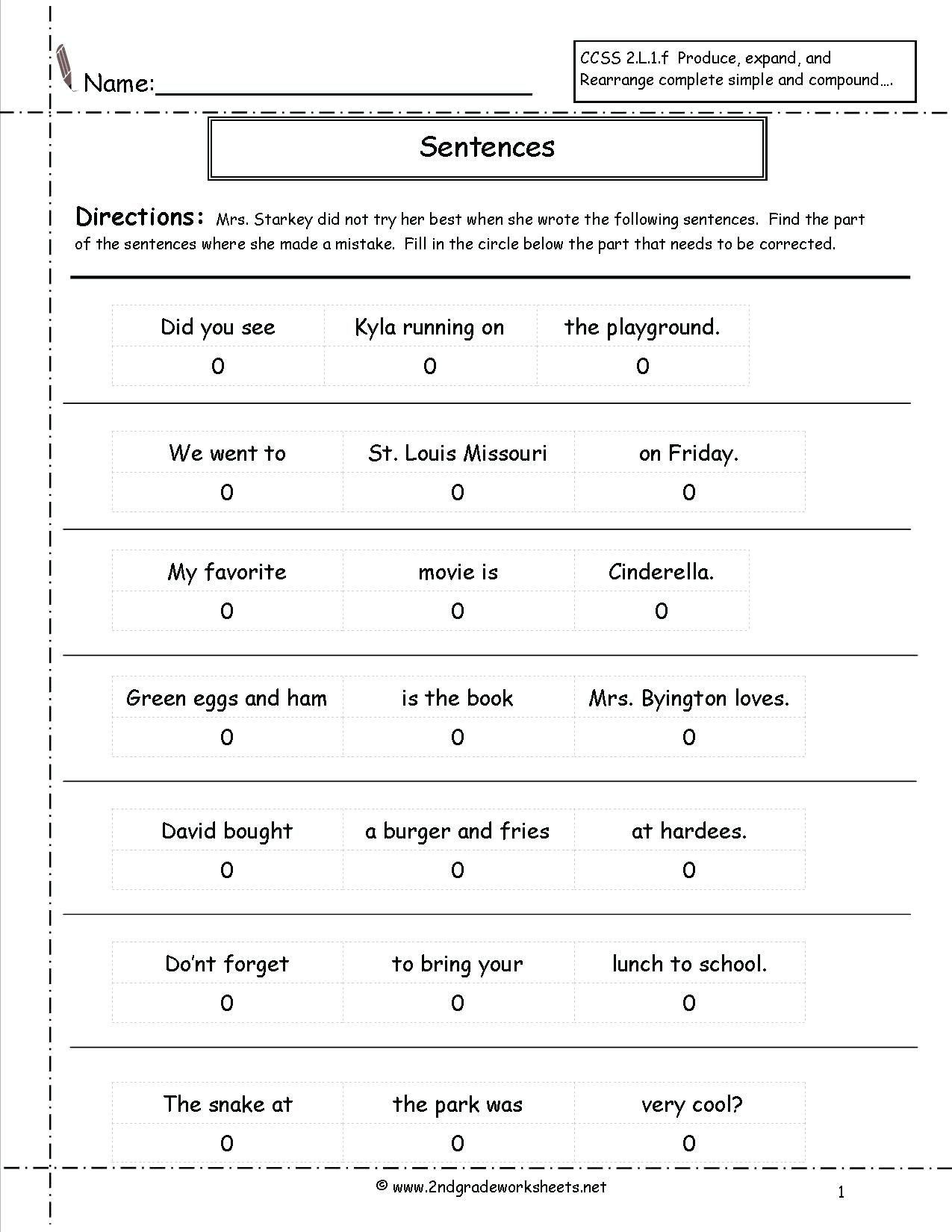 Free Types Of Sentences Worksheets Pictures
