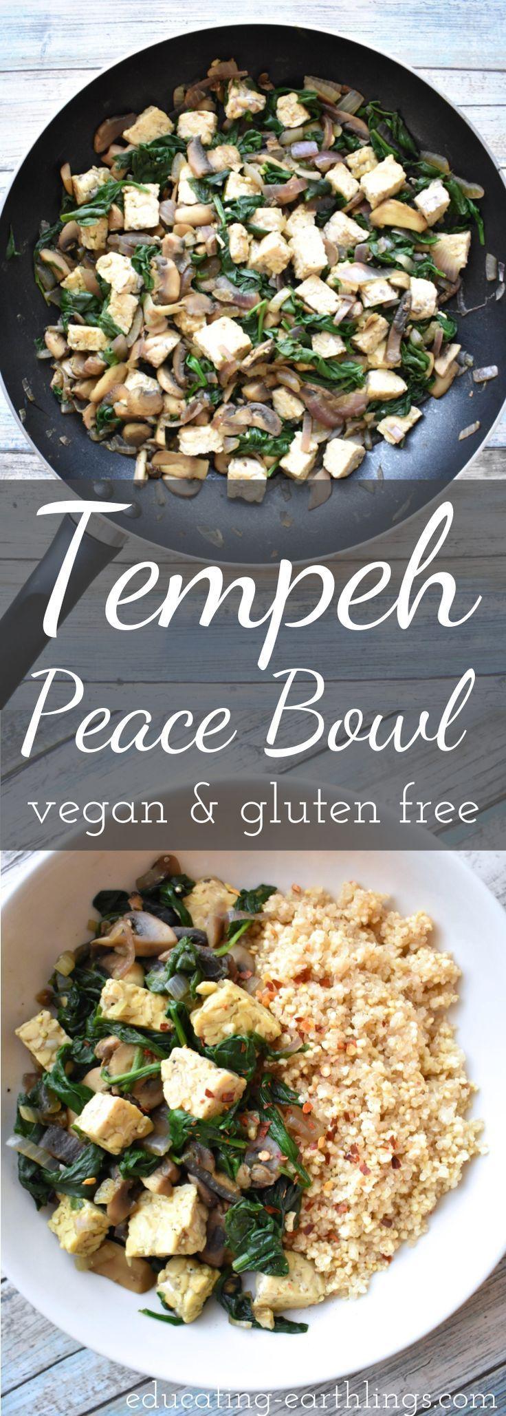 Tempeh Peace Bowl (vegan & gluten free) Benefits of Tempeh, soy protein, plant based protein, vegan meals, vegan recipes, plant based diet, vegan food