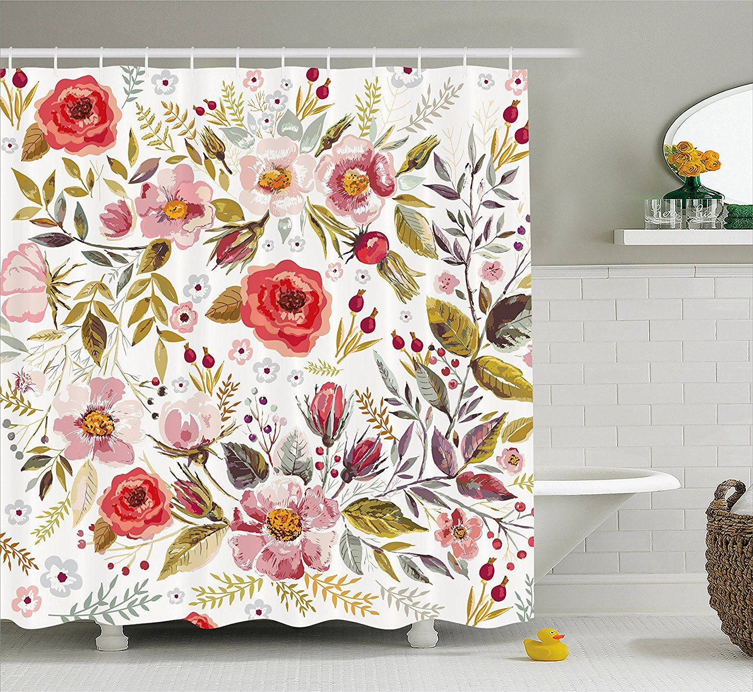 Amazon Vintage Shower Curtain by Ambesonne Floral Theme Hand