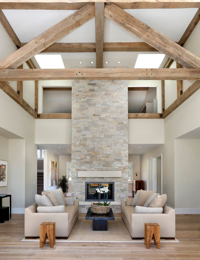 Modern Fireplace Stone Living Room Farmhouse With Exposed Beams