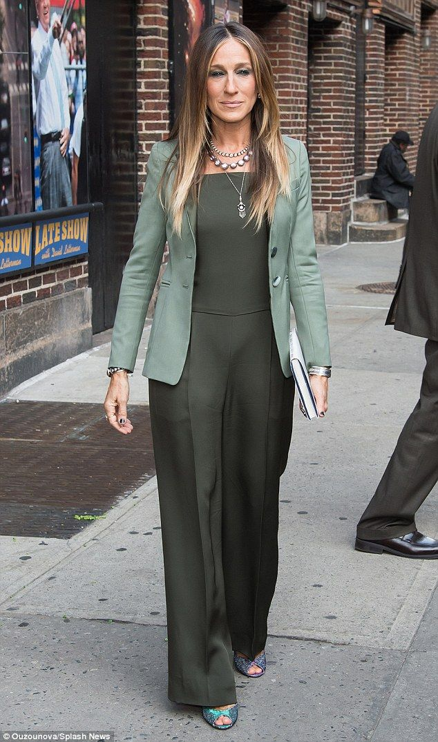 ffb5a849dd75 Green with envy  Sarah Jessica Parker looked amazing in an olive-green  jumpsuit paired wit.