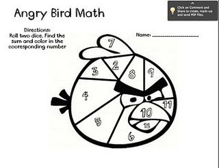 Free math sheet downloads: Angry Bird math, teaching money