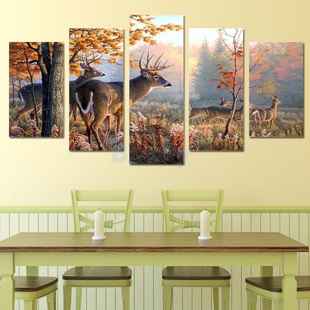 Modern Canvas Wall Art Of Autum Elk For Your Living Room -5 Panel ...