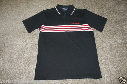 "Excellent used condition Polo Ralph Lauren Striped Golf Zip Cotton Knit Mens Trim Fit Shirt Size Large  Polo golf chest logo not embroidered   Colors are black, red, white  Pit to Pit 21 1/4"" and from shoulder to hem 29 1/4""  100% Cotton    100% Satisfaction Guaranteed, and Fast Shipping."