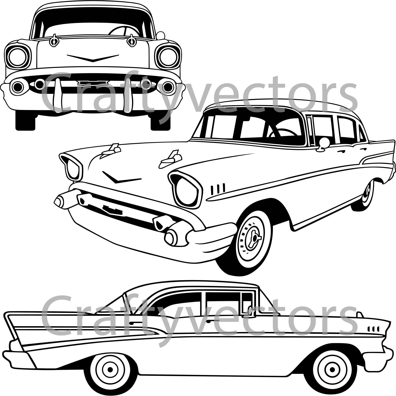 Chevrolet Bel Air 1957 4 door Vector File