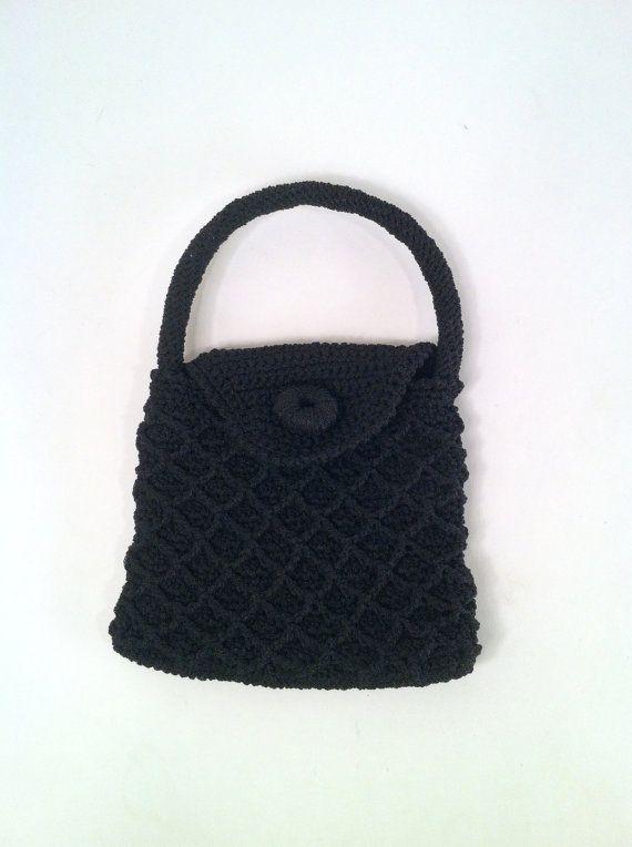 Vintage 1960s Black Net Handbag Purse  Boho Hippie by SLVintage