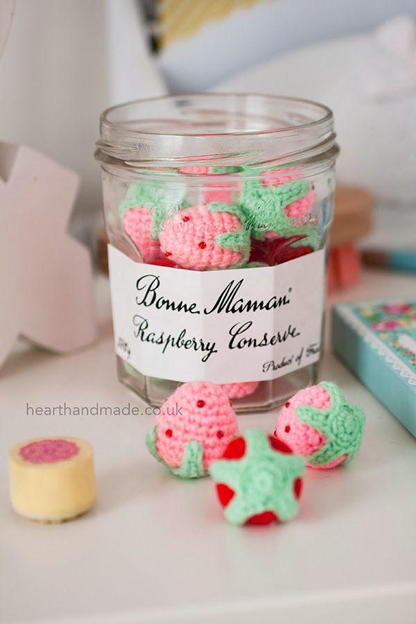 @ Heart Handmade UK: crochet strawberries in bonne maman jars