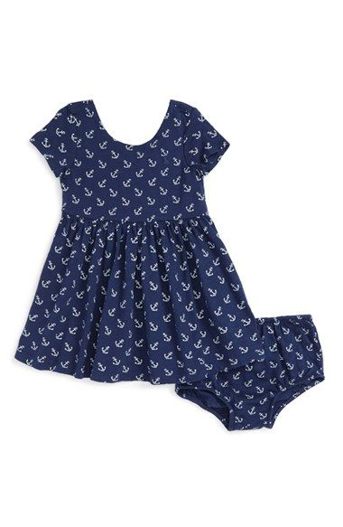 Ralph Lauren Baby Girls Anchor Cotton Dress /& Bloomer