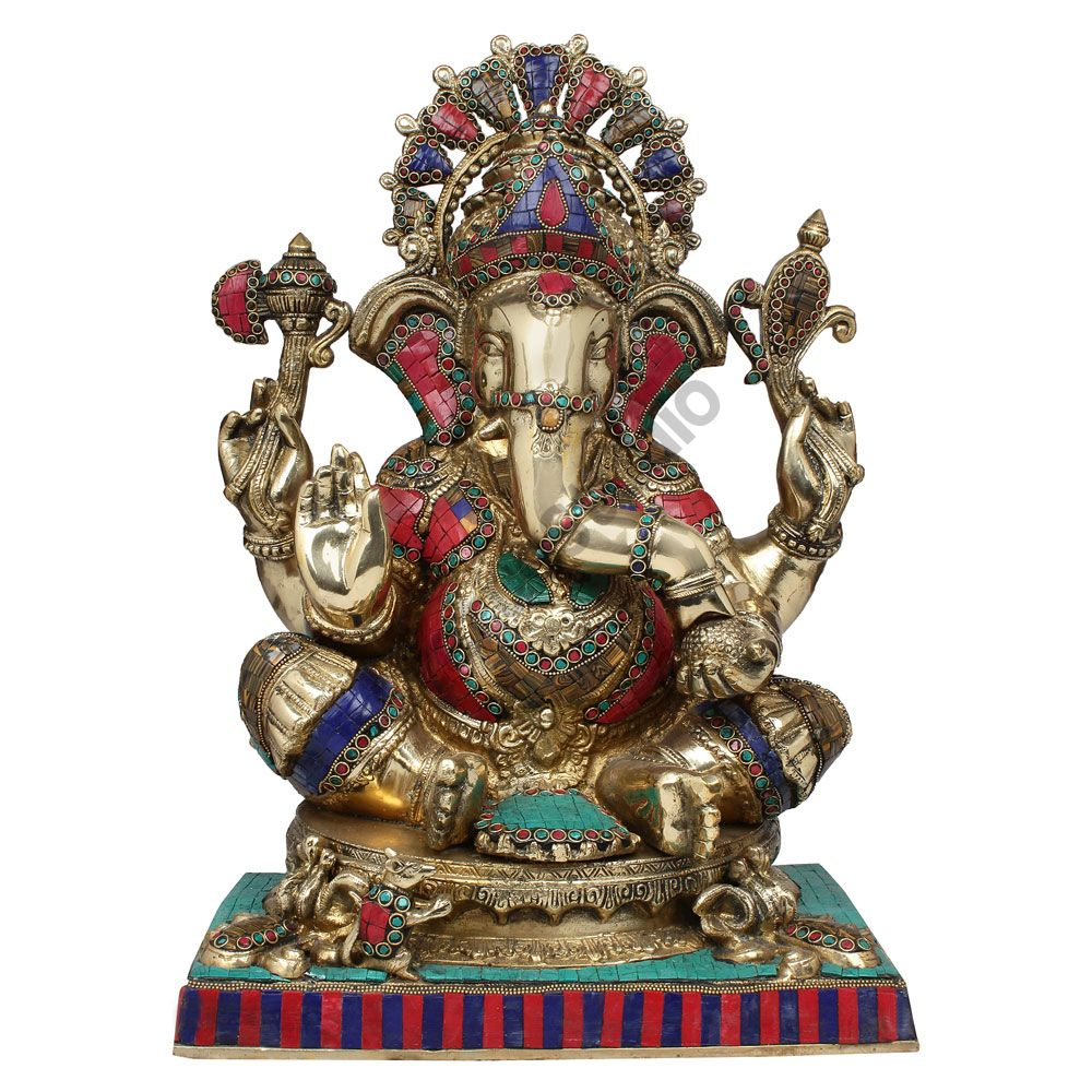 Large Size Ganesha Fine Inlay Ganpati Murti Décor Gift