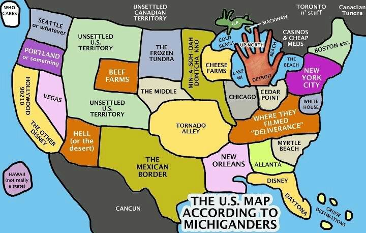 The U.S. map, according to Michiganders. (And please remember this ...