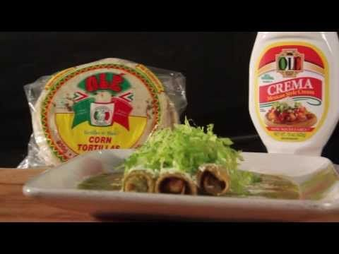 Recipe for Flautas in verde sauce how to video