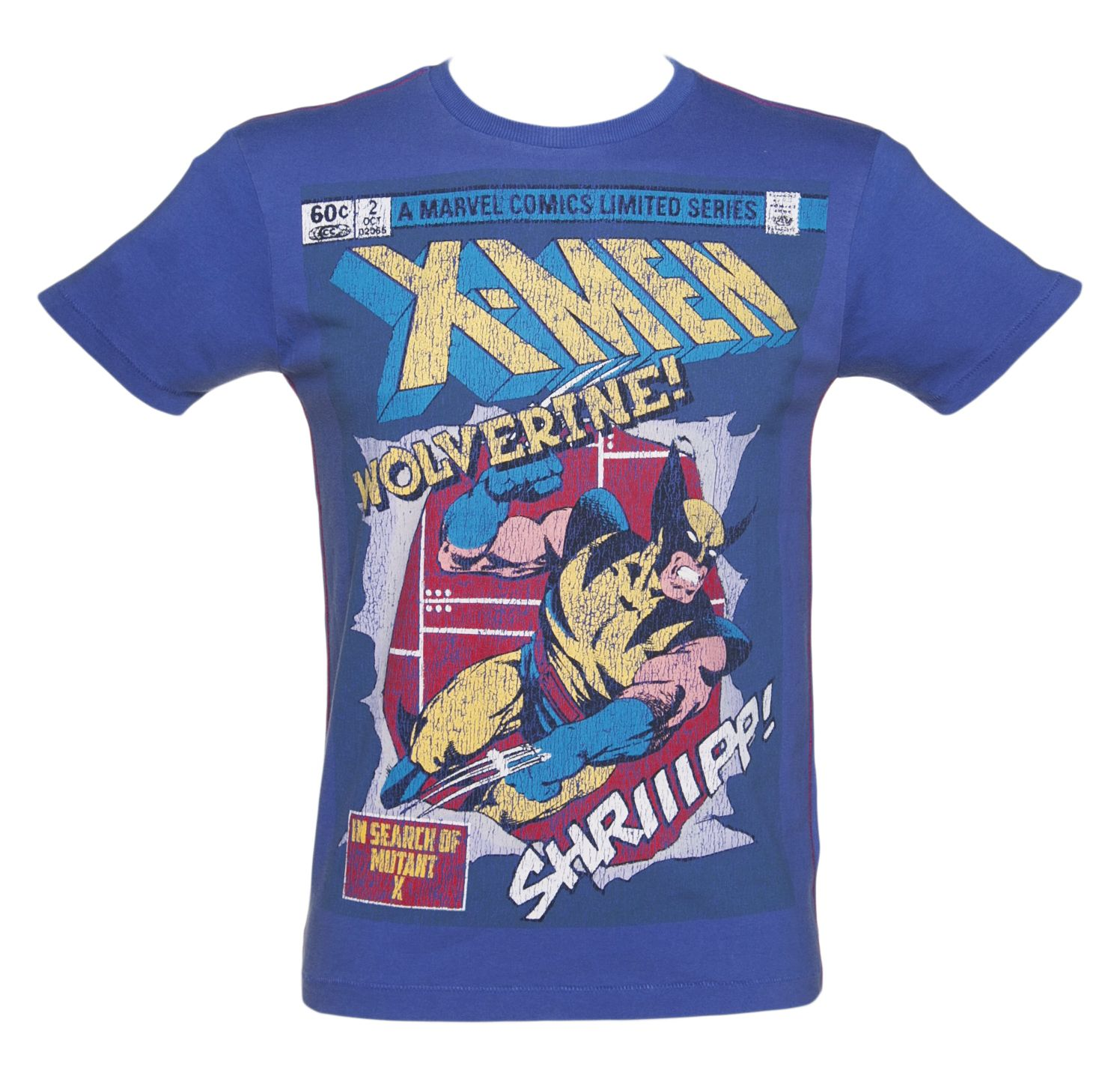 Men's Washed Blue #X-Men #Wolverine #Comic Cover T-Shirt from