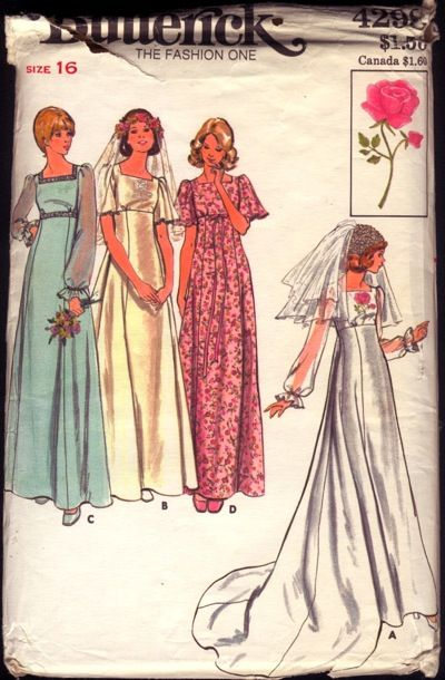 Butterick wedding dress - 1970\'s   02 Sewing Patterns, I LOVE ...
