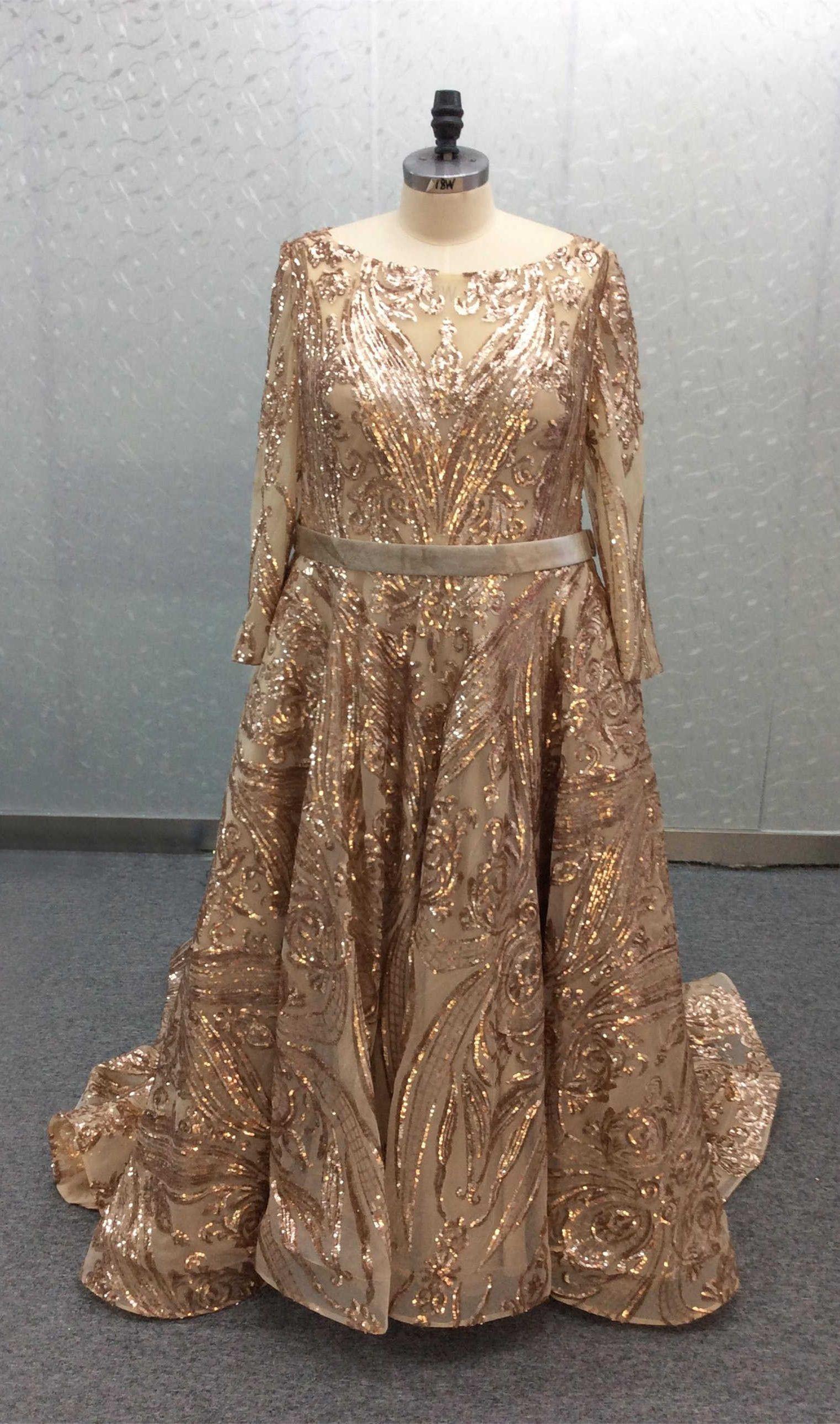 Luxus A Linie Abendkleid Große Größen Langarm RoseGold Pailletten