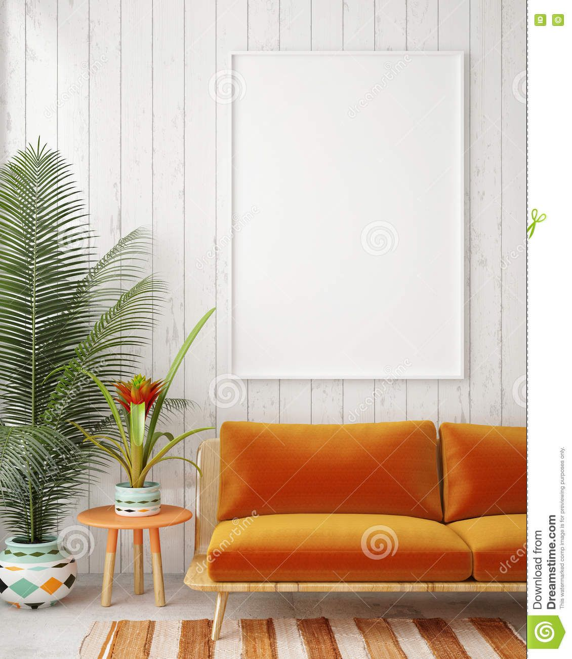 Mock Up Blank Poster On The Wall Of Vintage Living Room Download