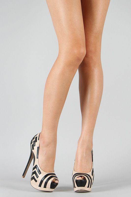 Cream and Black Chevron Two Toned Peep Toe High Heel. hawt