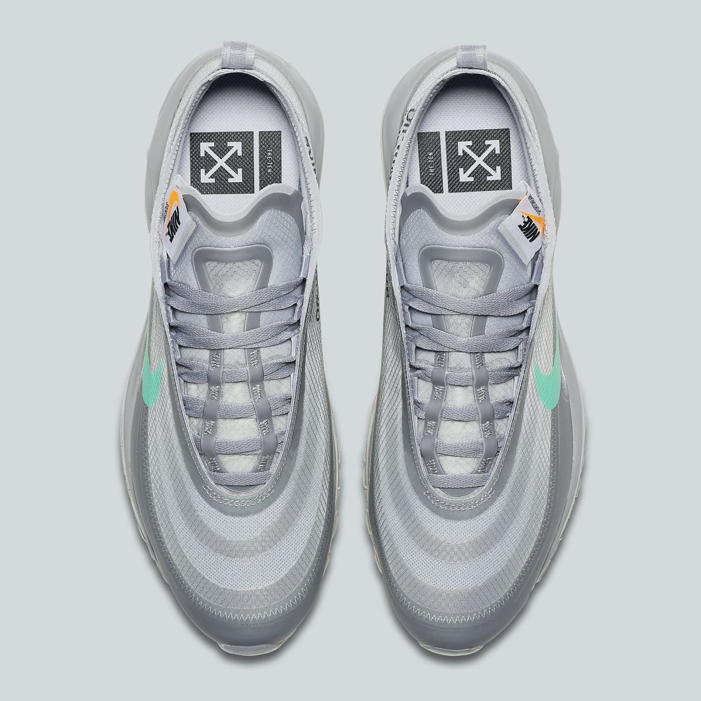 Off-White x Nike Air Max 97 Off-White Wolf Grey White Menta Release Date  AJ4585-101 Top 80709de85