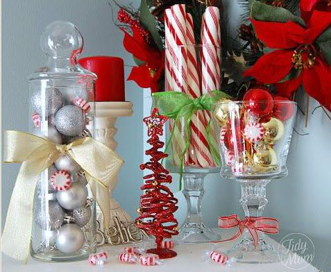 You can find many great items for Christmas decor at your local dollar store that that won't break the bank. via @TidyMom
