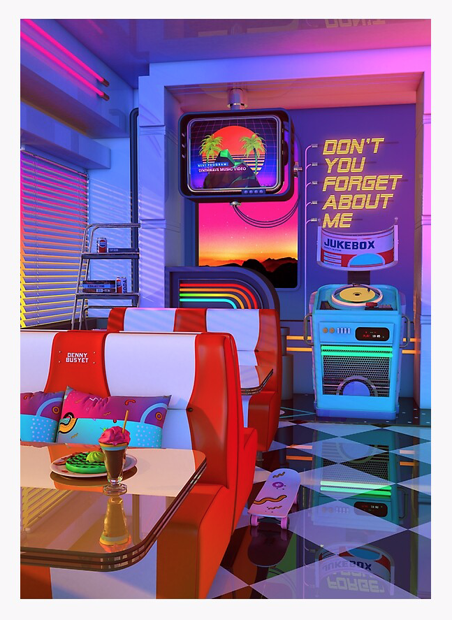 Retrowave Dine Dream Photographic Print By Dennybusyet In 2020 Retro Wallpaper Wall Collage Aesthetic Iphone Wallpaper