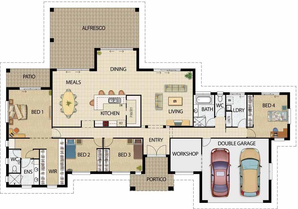 Plano De Casa Grande, Con 4 Dormitorios Y Cochera Para 2 Vehículos