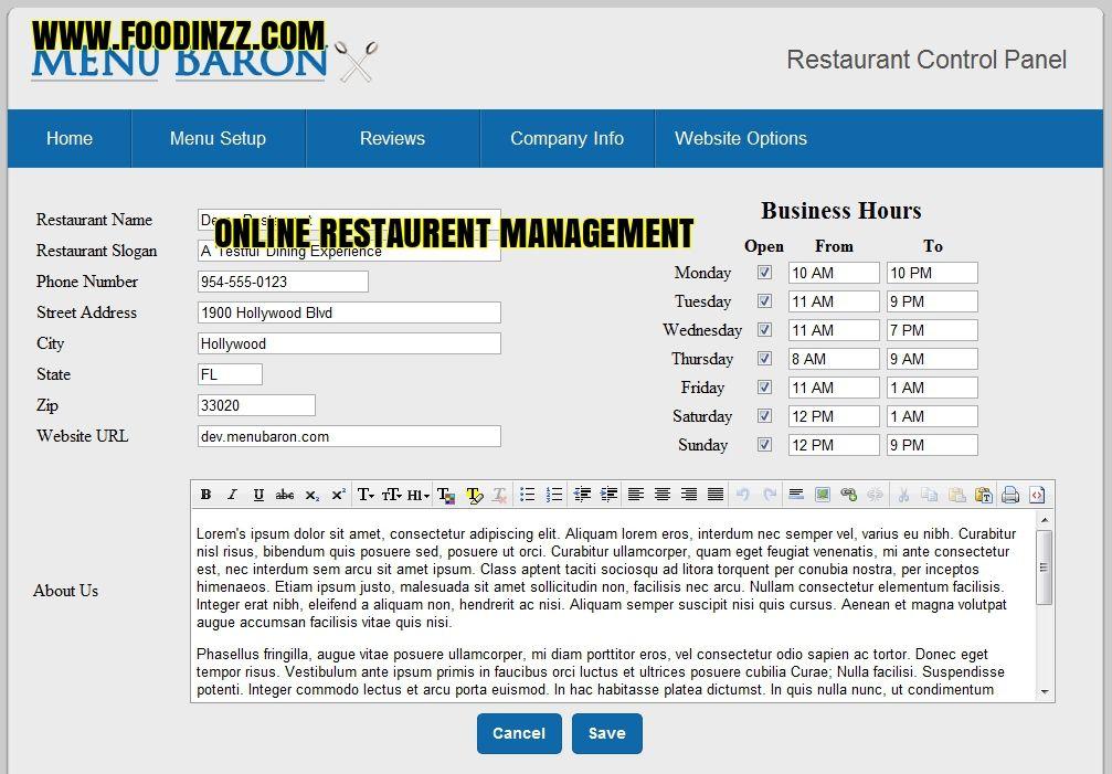 The online restaurant management degree program most