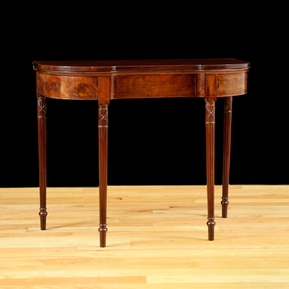 Antique American Sheraton D Form Game Table in Mahogany with Reeded Legs  c 1815. Antique American Sheraton D Form Game Table in Mahogany with