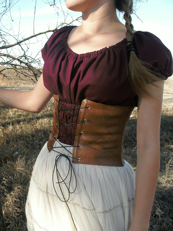 8bc5b43537 Leather Waist Cincher Corset with Boning--- Custom Made to Order---  Renaissance