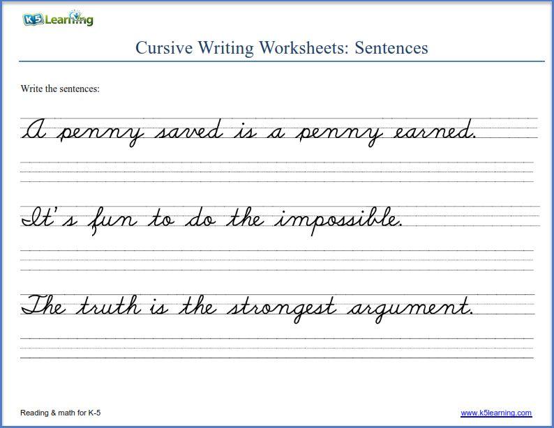 Cursive Writing Sentences Worksheets Pdf Cursive Writing