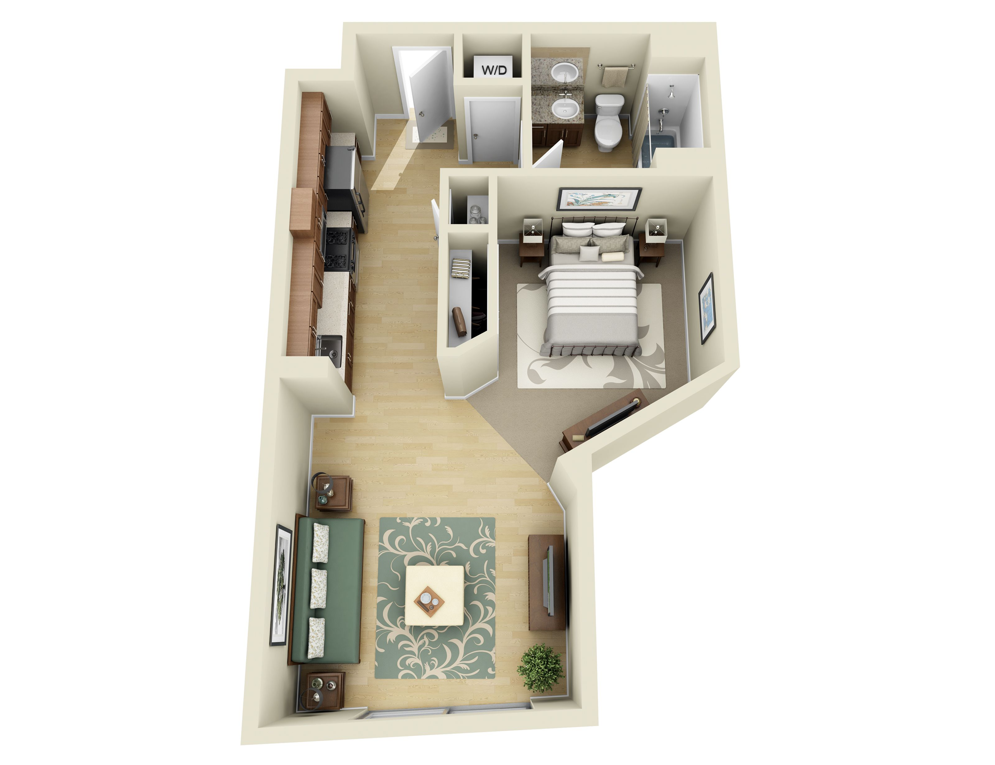 Studio 1 2 And 3 Bedroom Apartments In Los Angeles 1 Bedroom Apartment Apartment Layout Bedroom Layouts For Small Rooms