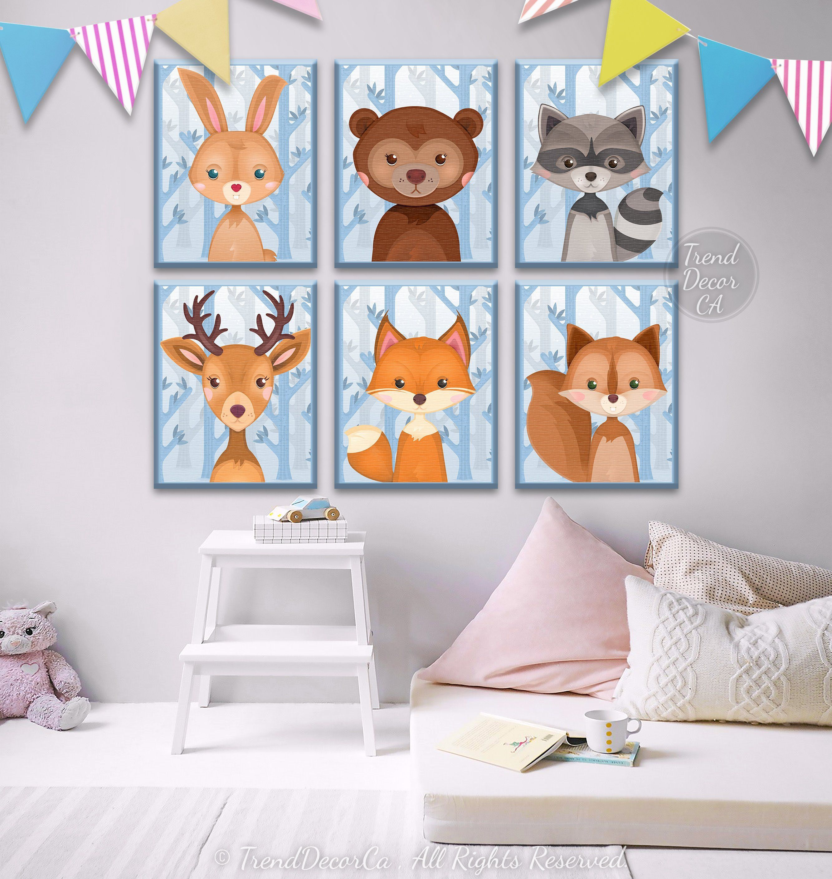 Adorable Woodland Baby Animals Canvas