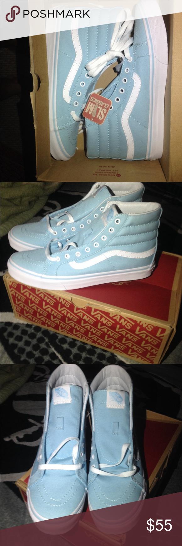 84ee90555a Vans shoes size 8.5 men s Authentic SK8-HI SLIM CRYSTAL BLUE   TRUE WHITE  SIZE 8.5 men s Vans Shoes Sneakers
