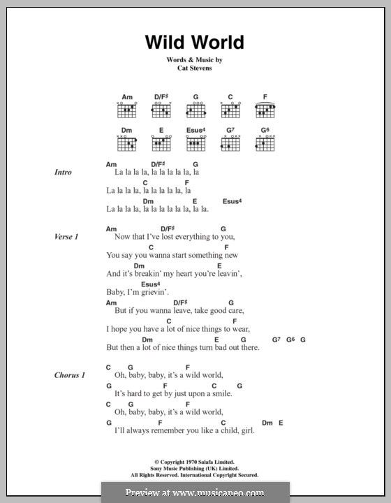 Wild World Lyrics And Chords By Cat Stevens Music I Love Sheet