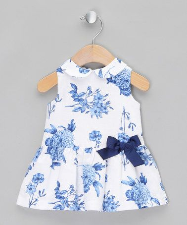 fb45cd041584 White   Blue Floral Dress - Infant