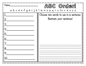 Alphabetical order worksheets information