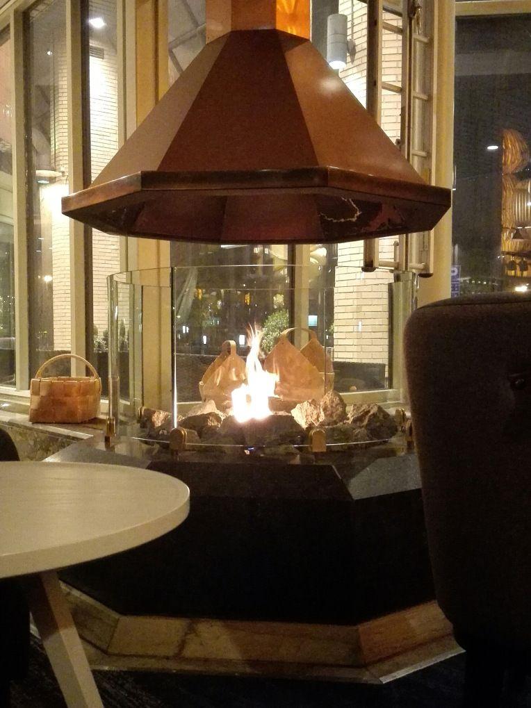 Interior design, Finnish design, fireplace design Hilton Strand, Helsinki, Finland