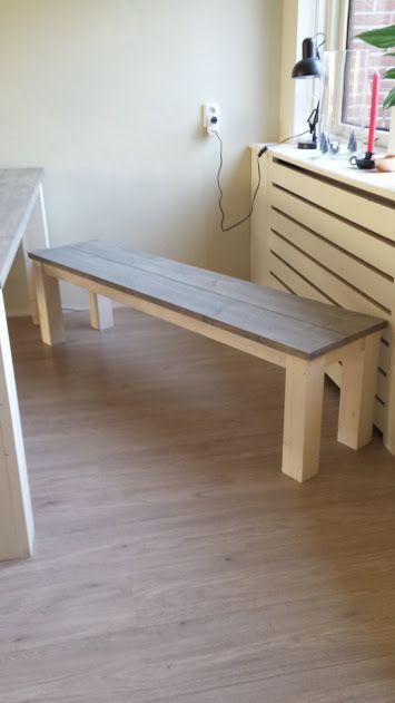 Handmade country bench Hand geschreinerte Landhaus Stil Bank aus Fchtenbohlen in weisser Kreidefarbe und Greywash Lasur von Anima Artis Garden! Ab € 99