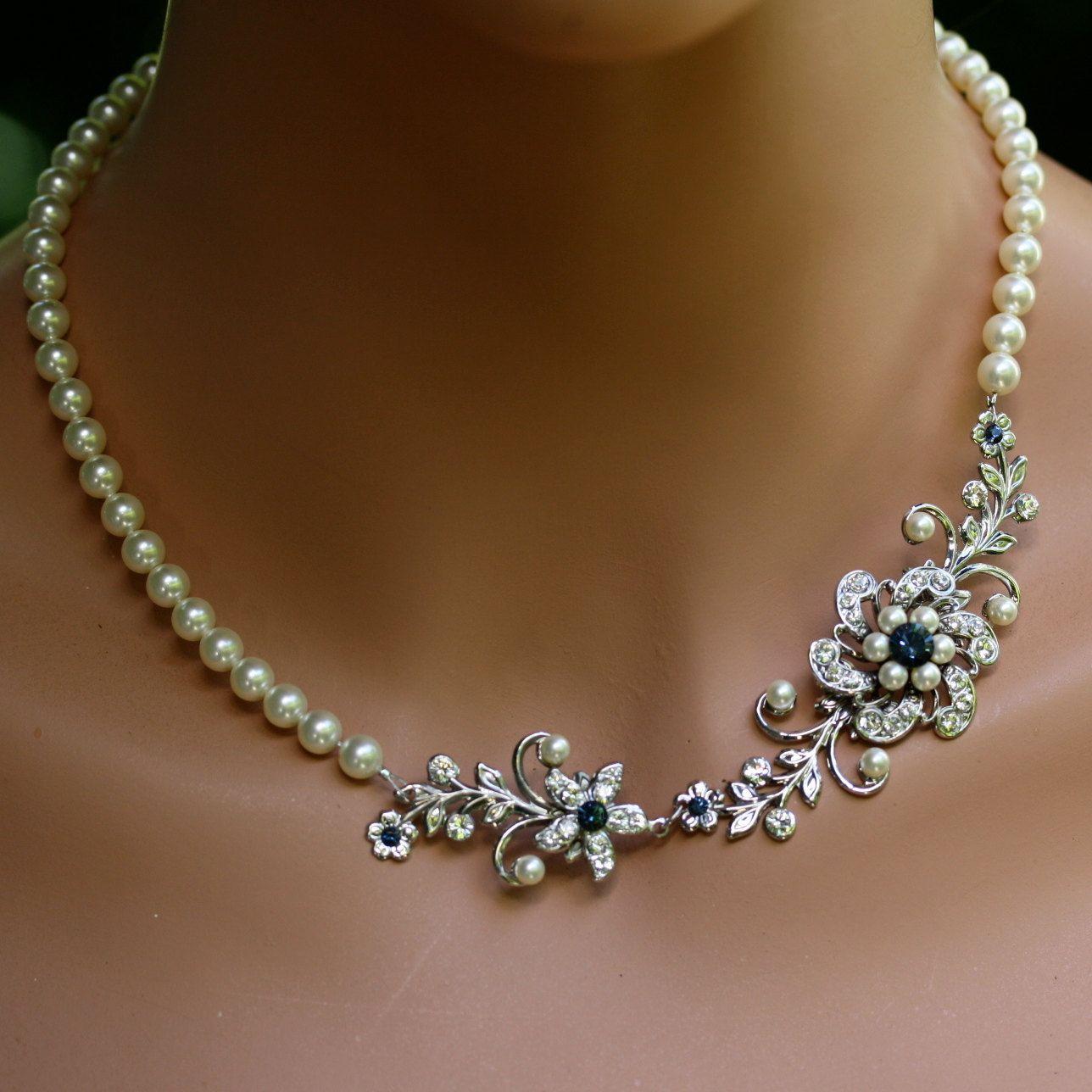 Bridal Flower Bracelet : Pearl wedding bracelet swarovski crystal flower