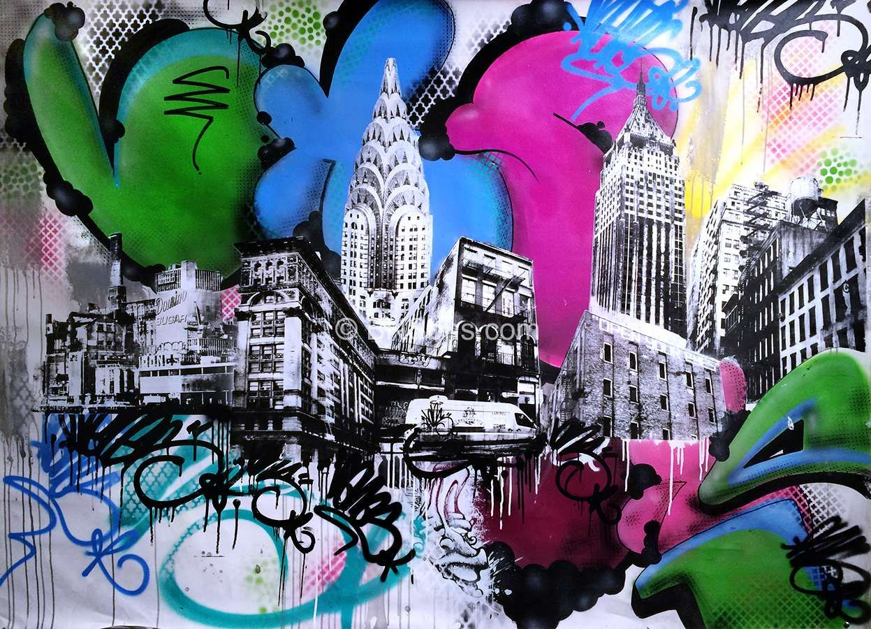 Silkscreen Graffiti New York Skyline Brooklyn Bns