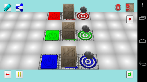 A programmatic puzzle-like game designed spark imagination. Create and share levels with friends.<p>The objective is simple, get a number of boxes to a target, optionally collecting up to three 'gears'. In order to work the factory floor circuity is keyed to a number of different control channels, each color coded. When a control channel is active, the circuity will move as depicted.  http://Mobogenie.com