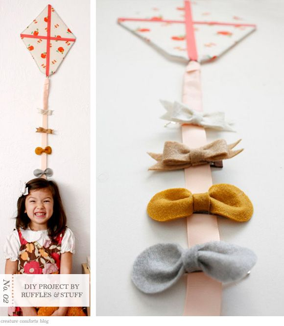 DIY Bow Organizer, I think this would be a cute growth chart.