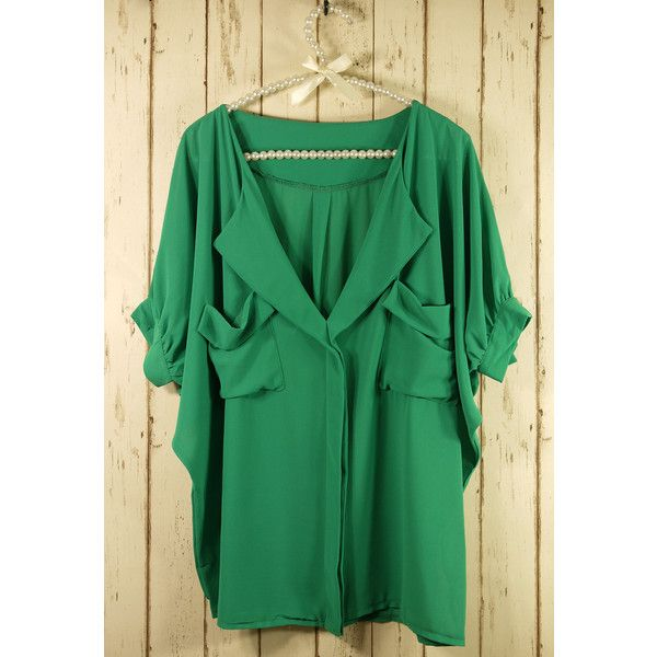 Laidback Artist Short Sleeves in Green ($35) ❤ liked on Polyvore
