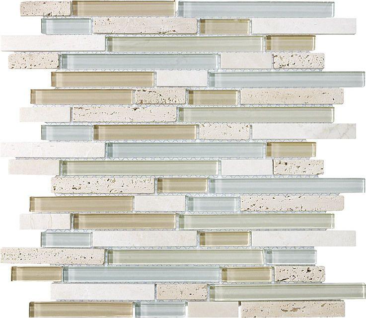 Discount Glass Tile Store - Glass - Glass & Stone Mosaic - Ivory Bottocino And Glass Mosaic