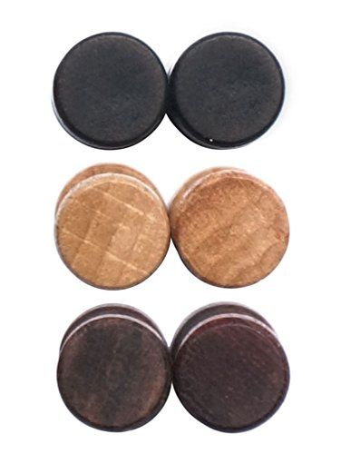Wood Wooden Vintage Round Circle Fake Cheater Plug Tunnel Unisex Stainless Steel Stud Earrings Set z9XW1h0IAO