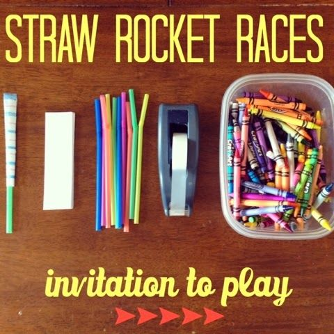 hazel and company: Invitation to Play: Straw Rocket Races