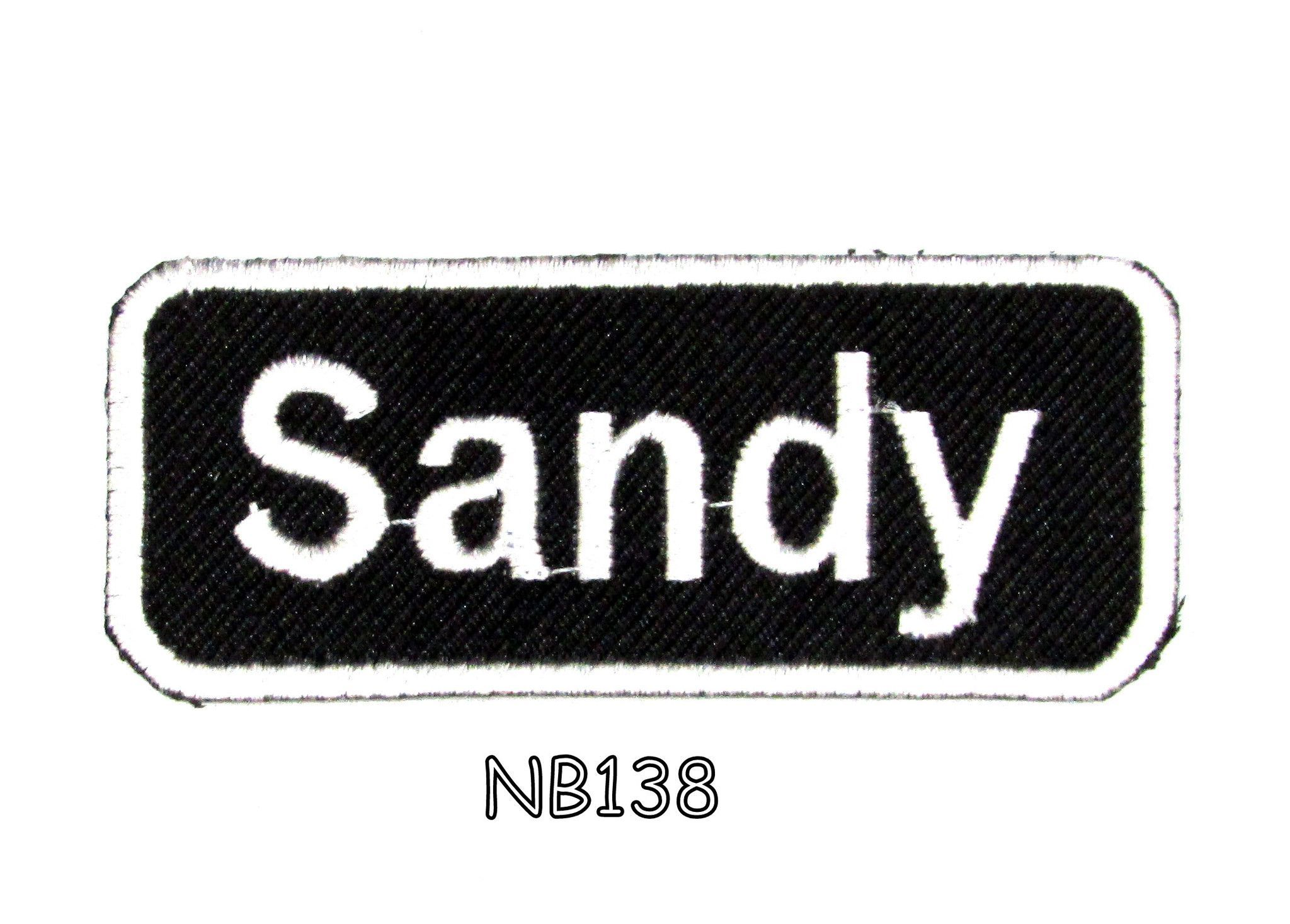 Sandy iron on name badge patch for biker jacket and vest nb
