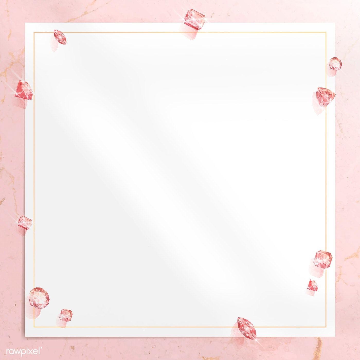 Download Premium Vector Of Pink Crystal Gem Design Vector 1228091 Crystal Gems Pink Background Floral Logo Design