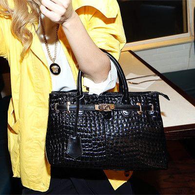 Maomao Bags New Europe Big   Crocodile Pattern Lock  Genuine Leather BagG-098